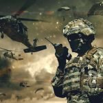 Soldier and Helicopter